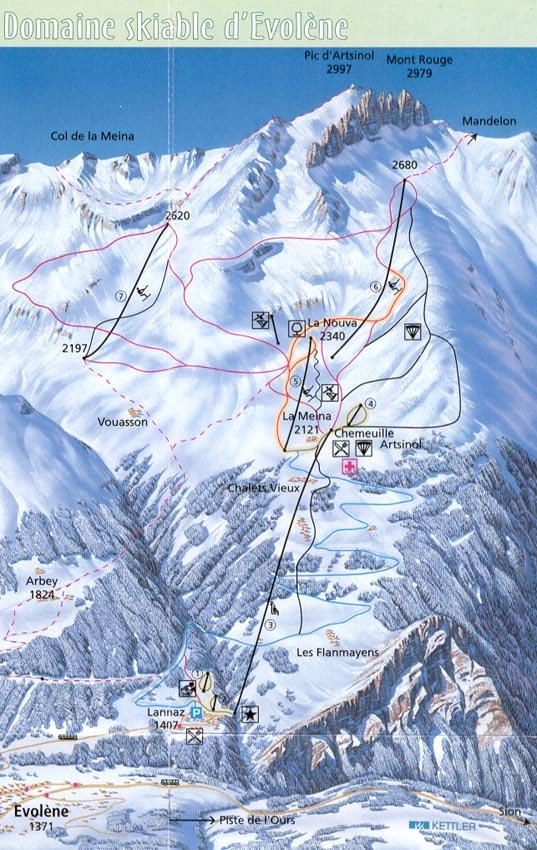 Четыре долины в Швейцарии (Вербье, Ненда, Тион, Вейсона, Ла Цума) .
